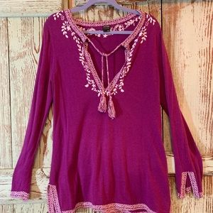 Purple and cream knit embroidered tunic. Size L